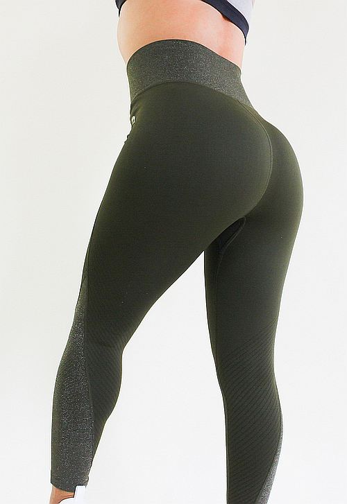 Waist Trimming Legging Army Green - Luxury Fabric